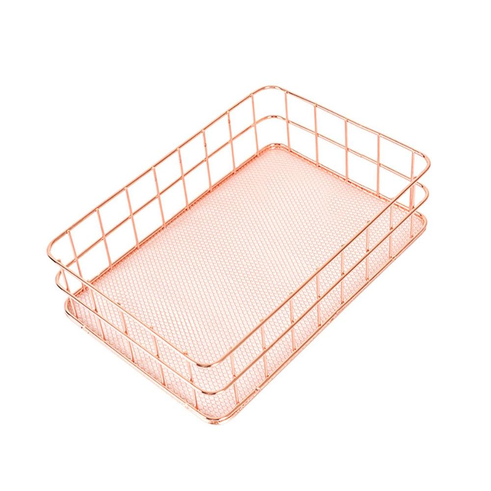Нордическая корзина для хранения из розового золота сетчатая корзина винтажный офисный органайзер для фруктового стола Boite De Rangement Органайзер держатель Прямая