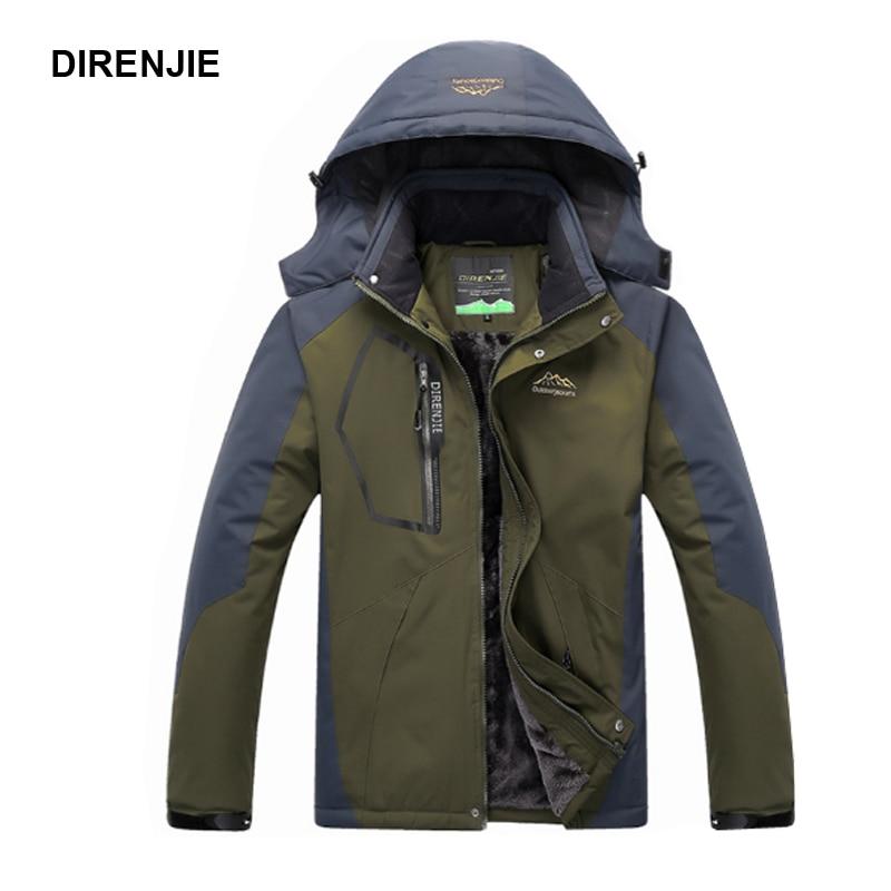 DIRENJIE Férfi Trekking Téli szőrme Termikus horgászat Kültéri kapucnis dzsekik Kemping túrázás Síelés Climing Sport síelés kabát 5XL J23