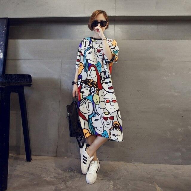 Wiosna kobiet han wydanie nowego złagodzenie długi okrągły kołnierz kreskówka duży rozmiar panie sukienka z Tshirt sukienka Plus rozmiar
