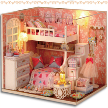 Dream Angels Handmade Wooden Doll House Toys With Furnitures Assembling DIY Miniature Model Kit Childre Gift