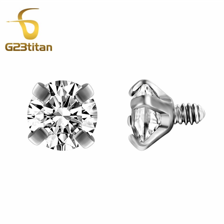 G23titan 10 Colors Zircon Beads For Body Jewelry Internally Threaded Stainless Steel Balls Screw For Labret Curved Barbell