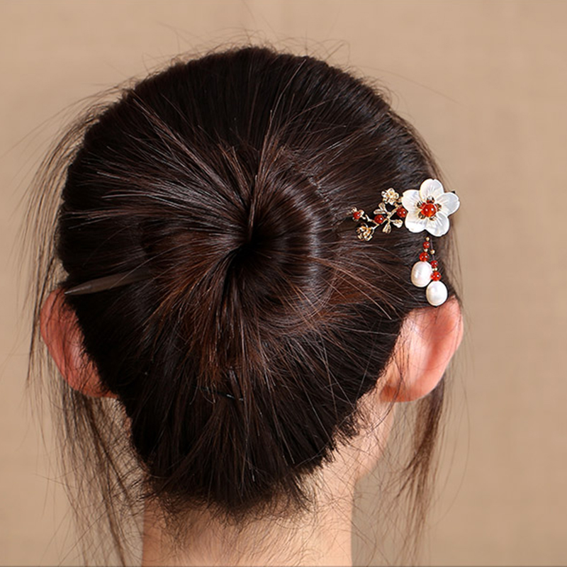 все цены на Pearl Flower Wood hairpin Sticks Hair Accessories Bridal Hairwear Colorful Enamel Wedding Bride Retro Hairpin