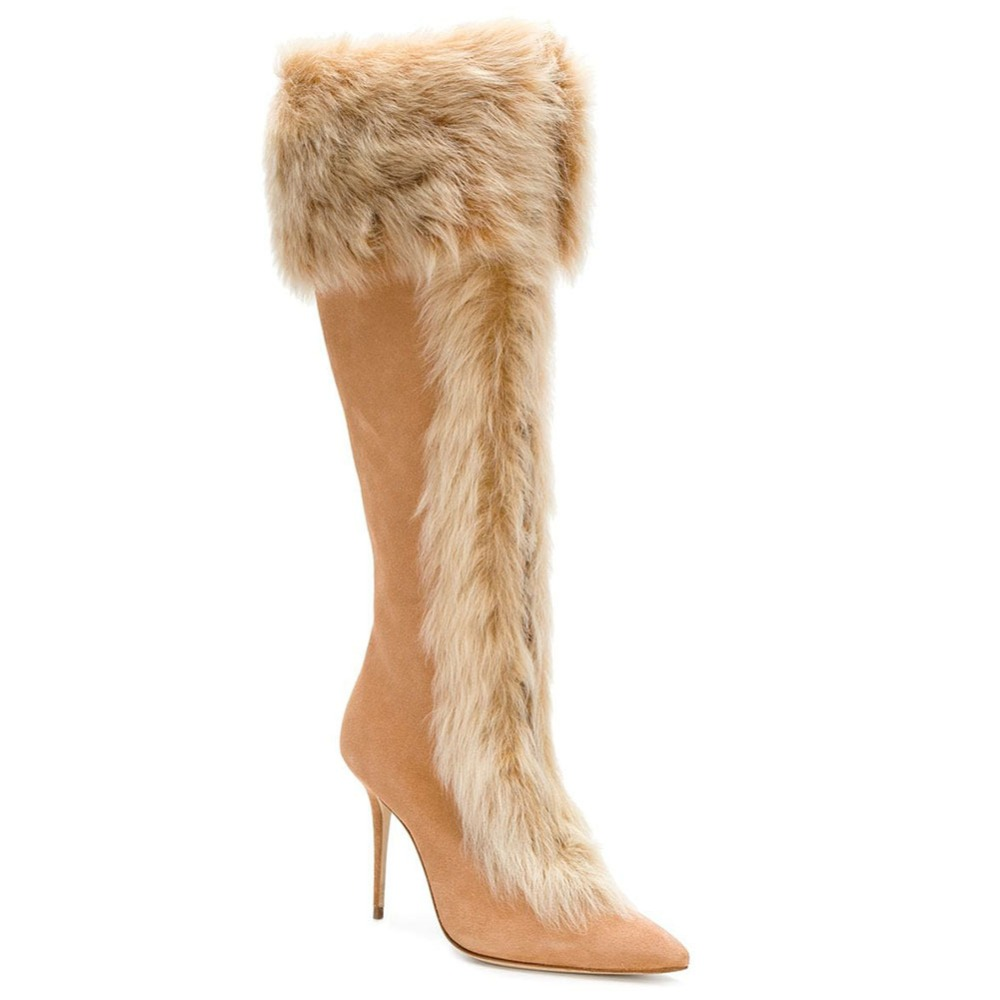 10CM High Heel Winter Shoes Women Knee Leather Boots Woman Snow Thigh High Boots Womens High Heels Boots Full Fur Boot black leather thigh high boots women 9cm high heel over the knee boots woman motorcycle boot snow winter boots with fur shoe