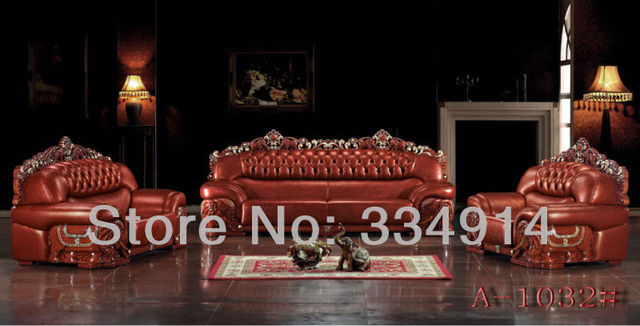 Thick Leather Sofa Leather Sofa Wooden Sofa Chinese Style Sofa/A1080