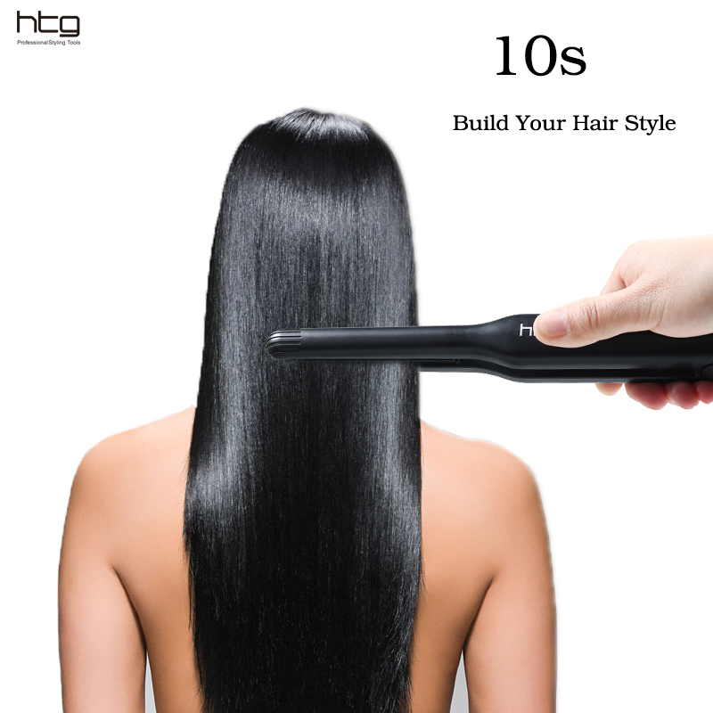 HTG Family Slim HOT Hair straightener iron Flat MCH ceramic Heating element Hair Straightening HT061 mch flexible 3d floating ceramic wide plates flat iron far infrared hair straightener straightening curling with negative ions