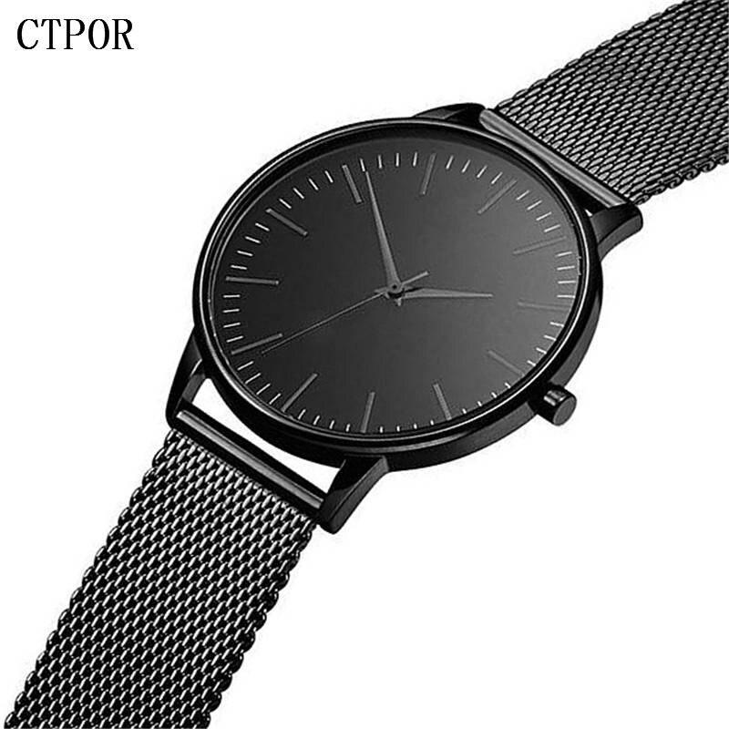 CTPOR Luxury Brand Watch Men's Watches Classic Business Compact Clock Strap Gold Stainless Steel Male Wristwatch Waterproof Man цены