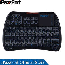 лучшая цена iPazzPort 2018 New Arrival 3colors Backlight 2.4GHz Mini Wireless Keyboard Mouse with Touchpad for Android TV Box/Mini PC/Laptop