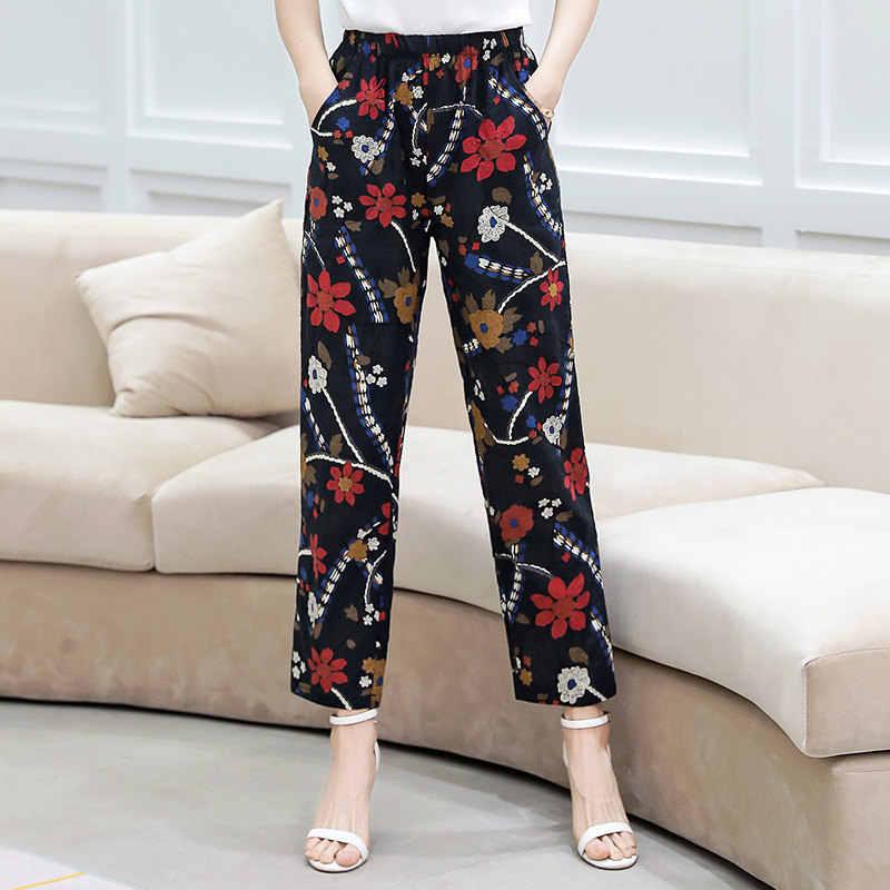 2019 夏の女性のパンツ韓国コットンリネン弾性ウエストチェック柄パンツカジュアルストレートハイウエストパンツズボンプラスサイズ XL-5XL