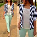 Moda de Nova Moda Feminina Stripe V Neck Manga Comprida Blazer Terno de Negócio do Revestimento do Revestimento Outwear