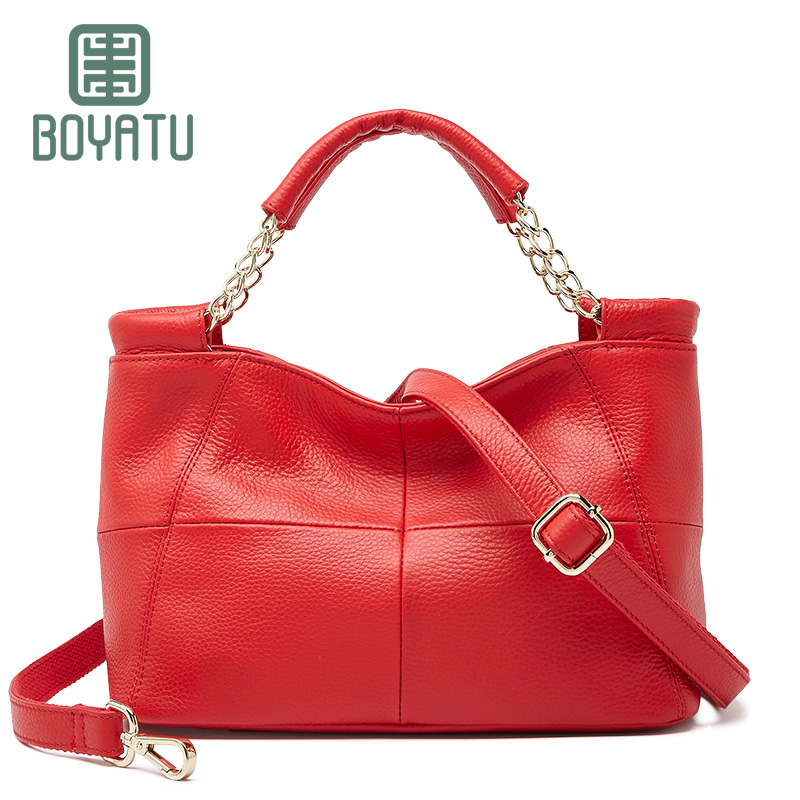 BOYATU Genuine Leather Shoulder Bags Female Luxury Handbags Women Bags Designer Tote Bag 2018 Ladies Brand Top-handle Party Sac seven skin brand women shoulder bag female large tote bag ladies pu leather top handle bags luxury handbags women bags designer