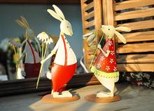 Free shipping 2pcs set H20cm double Sided Red iron rabbit Couples Decoration Marriage New Year Gift