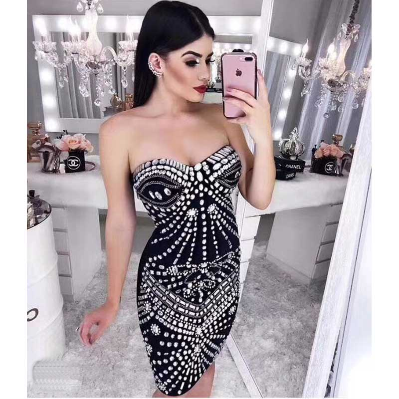 wholesale New black dress Rayon Knitting Strapless Beading Fashion sweet celebrity cocktail party bandage dress (H2272)