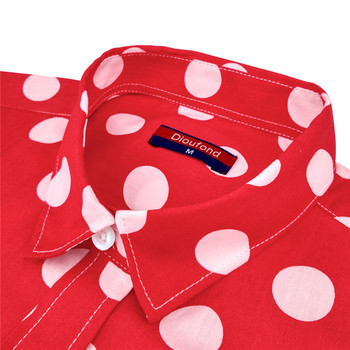 Dioufond Red Polka Dot Women Shirts Formal Work Ladies Blouses Cotton Long Sleeve Vintage Shirt Plus Size Tops Fashion Clothes 6