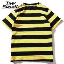 Yellow Black Red White Striped T-Shirt Cotton Vintage Hip Hop Harajuku Tops Tee Men Women Striped Tshirt Streetwear Short Sleeve