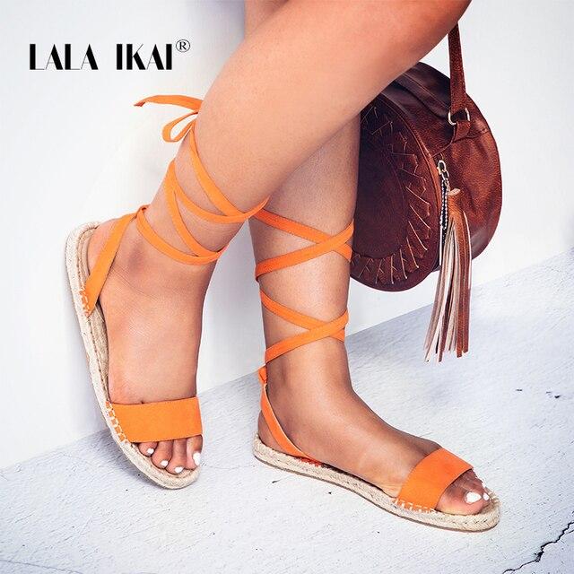 LALA IKAI/эспадрильи модные сандалии плоской твердой Рим кросс-ремешок Для женщин с открытым носком Sandales Femme zapatos mujer 014A1691-49
