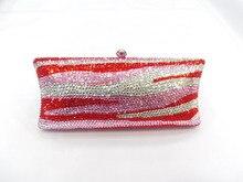 S7735TH Tiger Zebra pattern Crystal lady fashion wedding Bridal Metal Evening purse clutch bag case handbag