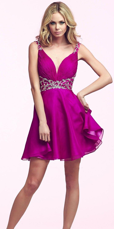 Lujoso Vestidos De Cóctel De Color Rosa Fucsia Fotos - Vestido de ...