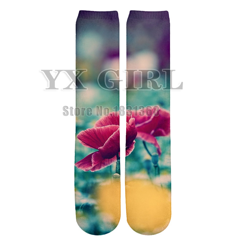 YX GIRL Beautiful Flower man/women galaxy 3d print funny socks casual unisex cool Cotton long socks