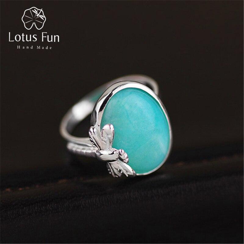 Lotus Fun réel 925 en argent Sterling naturel Amazonite pierre créative à la main Designer Bijoux fins Vintage femme anneaux Bijoux