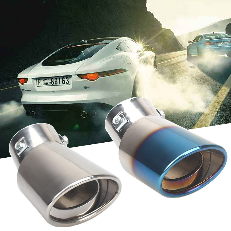 Universal Car Auto Round Exhaust Muffler Tip Stainless Steel Pipe Chrome Trim Modified Car Rear Tail Throat Exhause Liner stylish stainless steel car exhaust pipe muffler tip