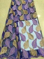 (5 yardas/porción) 2015 Nueva Llegada neta francés Africano tela de encaje con lentejuelas para el vestido de fiesta en línea tela de encaje SJU1-52