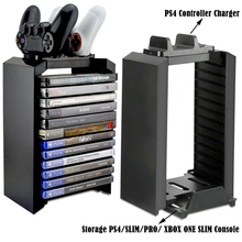 PS4 Slim Pro консоль Мультифункциональный игровой диск для хранения башня подставка с контроллером зарядная док-станция для xbox ONE Slim