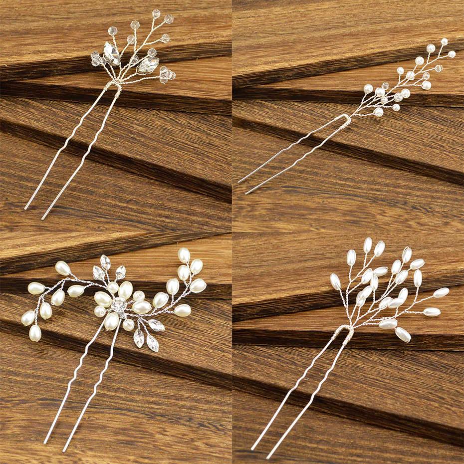 ファッション女性のさまざまなラインストーン花嫁のヘアアクセサリー手作り模造真珠の王女のヘアピンウェディングヘッドドレス