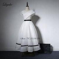 Liyuke белый Цвет платье для выпускного вечера с v образный вырез линии Кепки рукавом Чай Длина Формальные Платья для женщин индивидуальный за