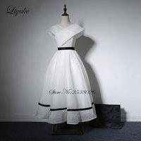 Liyuke White Color Prom Dress With V Neckline A Line Cap Sleeve Tea Length formal Dresses Custom Made