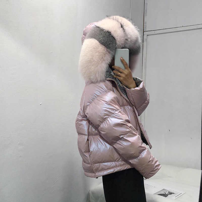 Echt Pelzmantel Natürliche Fuchs Pelz Kragen 2019 Winter Jacke Frauen Lose Kurze Unten Mantel Weiße Ente Unten Jacke Dicke warme Unten Parka