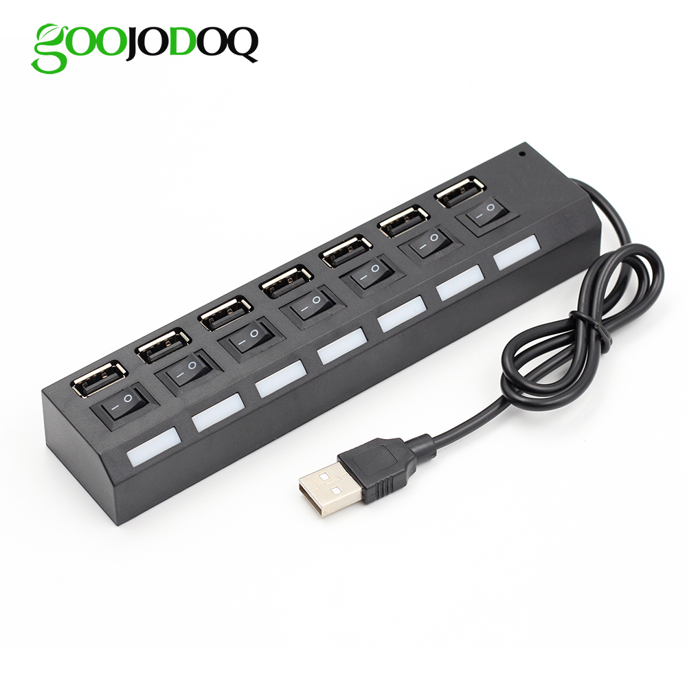4 7 port usb hub usb 2 0 hub multi usb splitter with on off switch or eu us power adapter. Black Bedroom Furniture Sets. Home Design Ideas