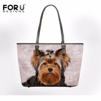 FORUDESIGNS 3D Yorkshire Terrier Women Bag Casual Handbag Animal Print Woman Shoulder Bags Feminine Bolsas Designer Leather Bag