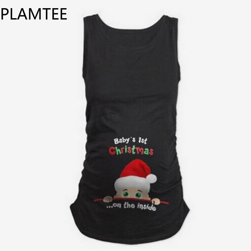 PLAMTEE Maternity Vest Tops Cartoon Printed Pregnant Women Breastfeeding Clothing Candy Color Fashion For Nursing Pregnancy Tank