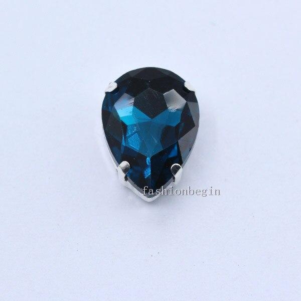 Все размеры слеза 24-Цвет стекло камень Пришить с украшением в виде кристаллов Стразы diamantes для шитья серебряной оправе в виде когтя для рукоделия Костюмы аксессуары - Цвет: capri blue