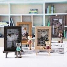 Wooden Photo Frame Cute Cat Modern Gift For Girls Kid Living Room Decoration ElimElim