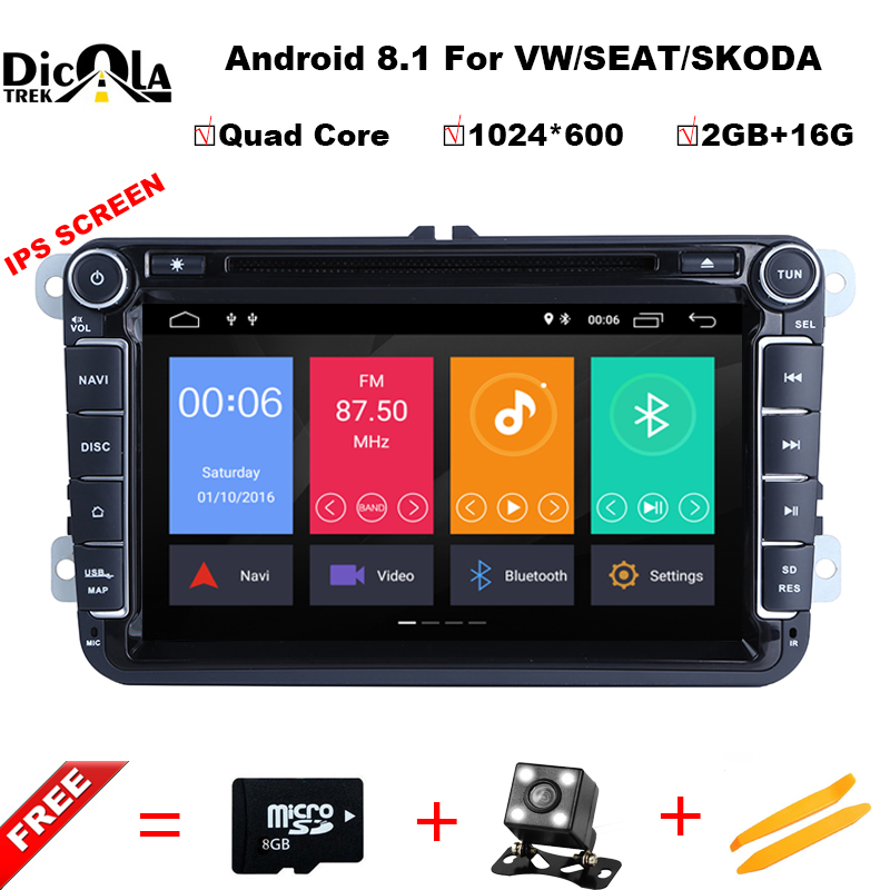 IPS Android 8.1 Car DVD for VW/Volkswagen SKODA GOLF 5 Golf 6 POLO PASSAT B7 T5 CC JETTA TIGUAN car gps stereo navigation player 2 x car decoration stickers car decals for volkswagen vw golf polo sagitar jetta tiguan gti