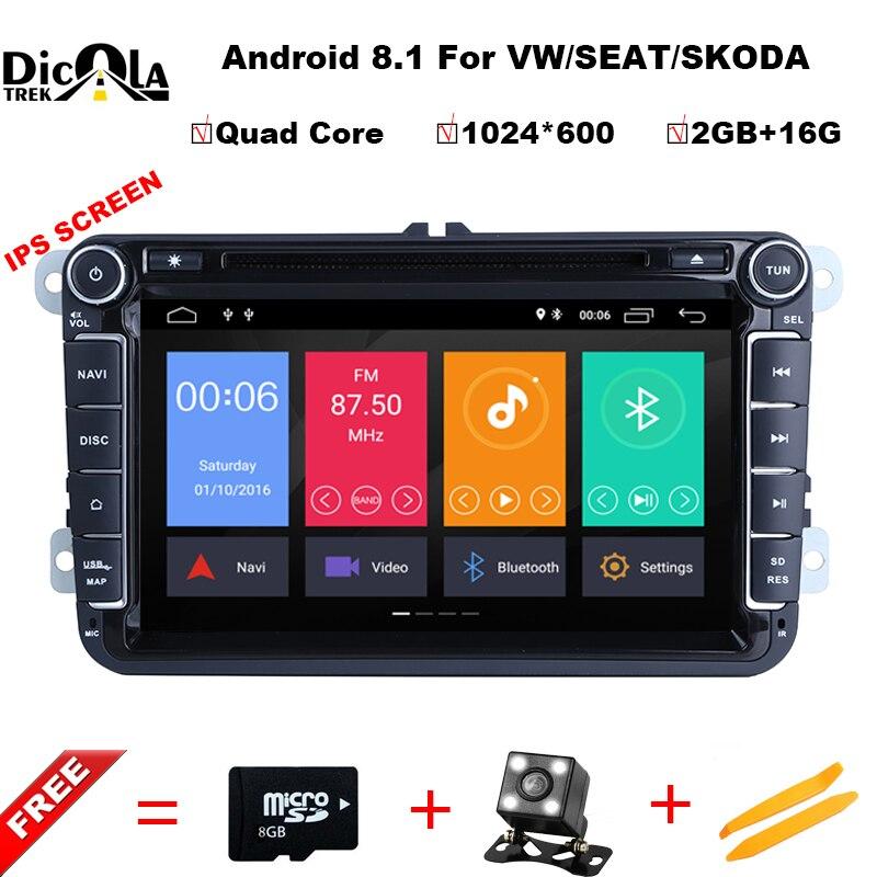 IPS Android 8.1 DVD De Voiture pour VW/Volkswagen SKODA GOLF 5 Golf 6 POLO PASSAT B7 T5 CC JETTA TIGUAN voiture gps stéréo navigation lecteur