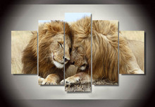 5 Panel Wall Art Canvas Prints Animal Two lions Painting Pictures for Living Room Modern Home Decor framed HX-061