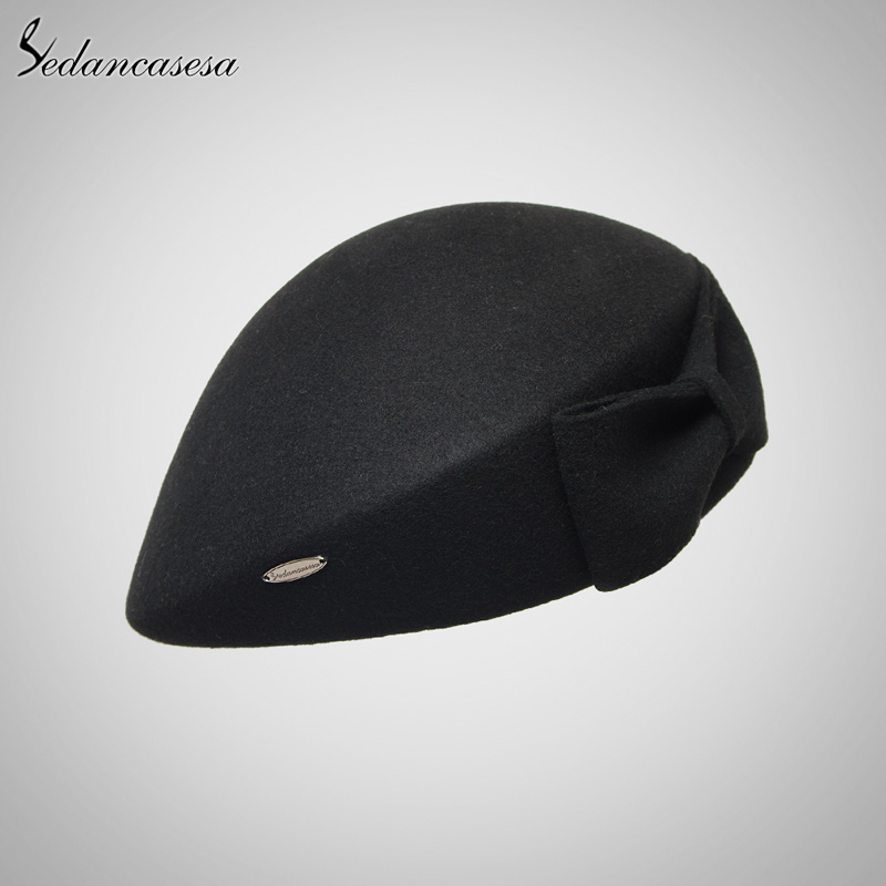 33d6665430536 Vintage Women Ladies Elegant 100% Cloche Wool Hat Red Black Beret Cap High-end  Airline Stewardess Hats FW121003