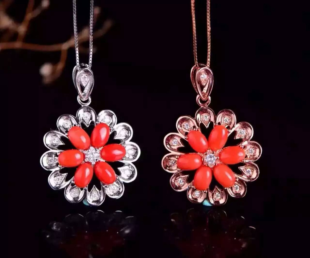 natural red coral pendant S925 silver Natural gemstone Pendant Necklace trendy Luxury Sunflower flowers women wedding jewelry flowers mexican sunflower motorola droid 2 skinit skin