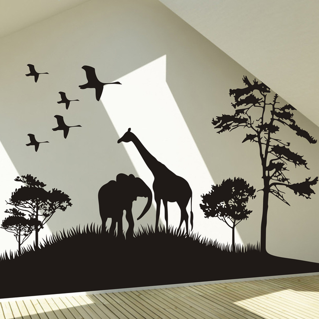 Africa Prairie Giraffe Elephant Flamingo Tree Animal Wall Stickers Wall  Decor Decal Wall Paper Home Decor Part 73