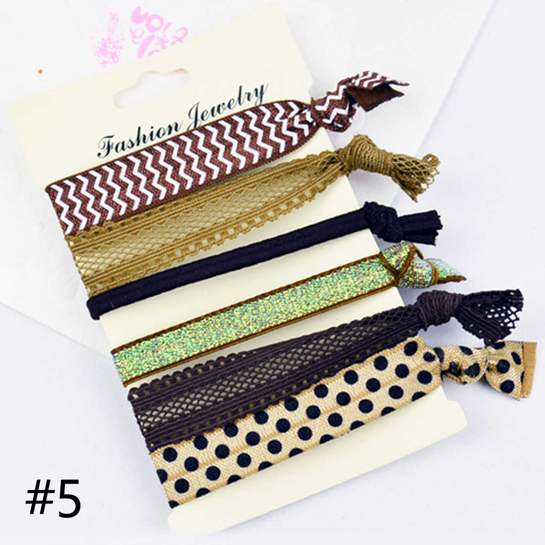 6PCS/Set Women Hair Accessories Pattern Elastic Hair Band Ponytail Holder Bracelets Rope Hairband Silk Cloth Knotted Headwear
