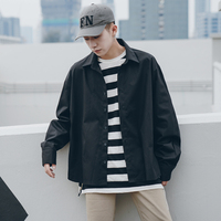 2018 Men's Fashion Long Sleeve White/black Classic Hawaiian Brand Cuff French Shirt Solid Color Loose Casual Clothes Coats M XL