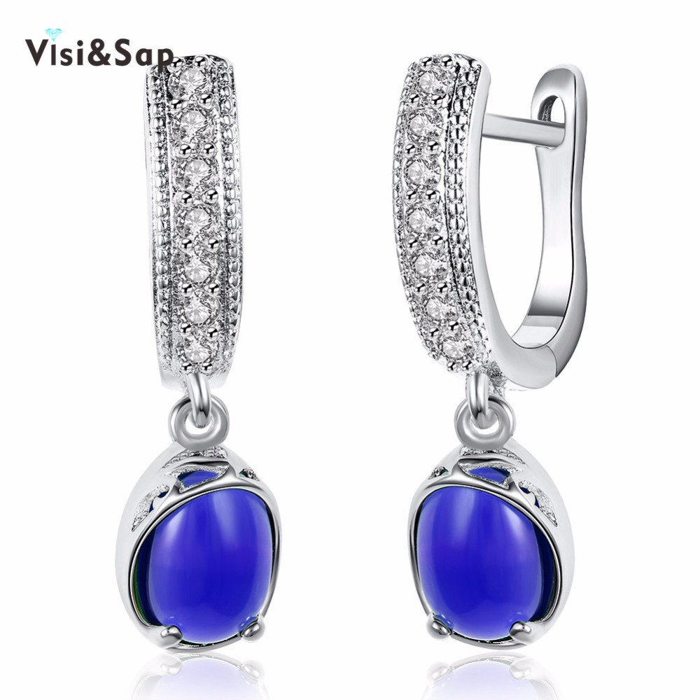 Visisap Round And Colorful Blue Stone Earrings For Women Fashion Ewelry  Drop Earring White Champagne Gold