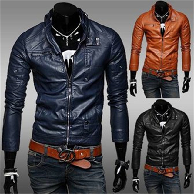 Men Casual Slim Short Style Fashion Washed Motorcycle Leather Jacket Men's Coat Windbreaker Plus Size;Jaqueta De Couro Masculina