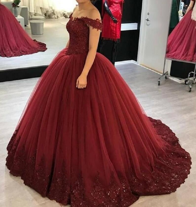 Abiye Burgundy Red Puffy Prom Dresses Ball Gowns Appliques Lace Tulle Long Formal Party Dress Robe De Soiree 2019 Custom Cheap