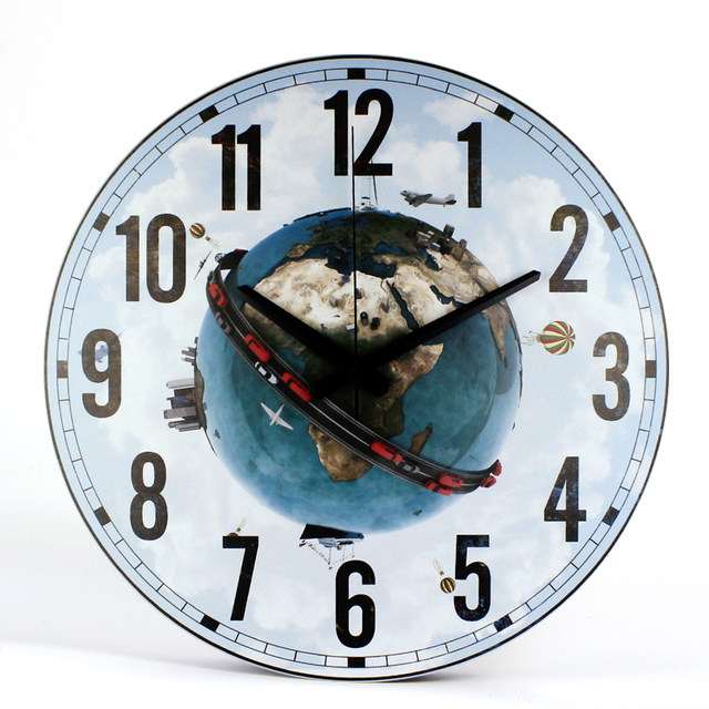 Round Wall Clock with Earth Picture