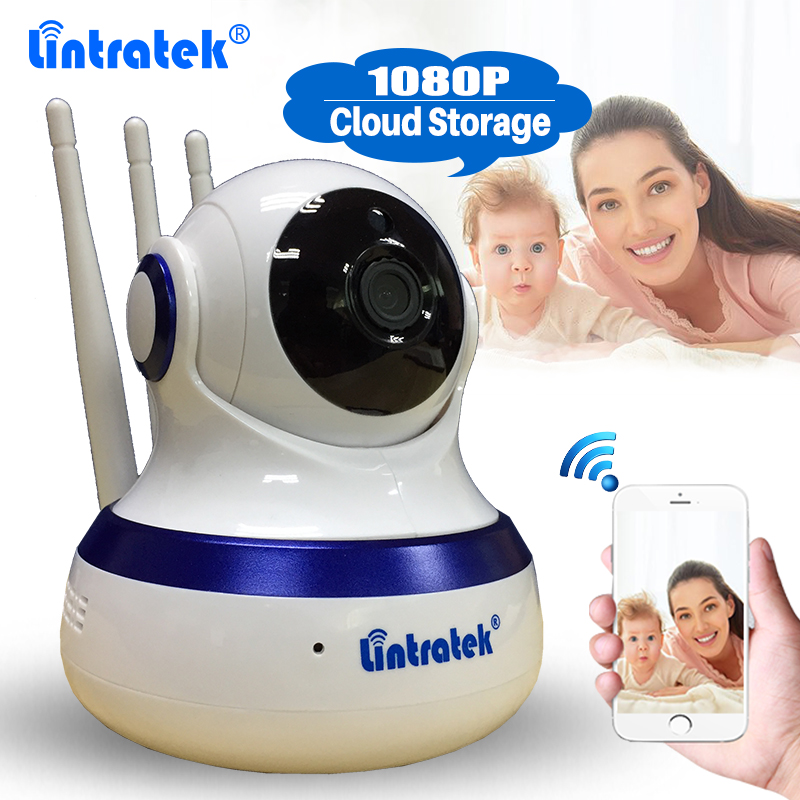 Lintratek Cloud Storage Wireless CCTV Security Camera HD 1080P WiFi IP Camera PTZ Baby Monitor Two Way Audio Night Vision Webcam howell wireless security hd 960p wifi ip camera p2p pan tilt motion detection video baby monitor 2 way audio and ir night vision