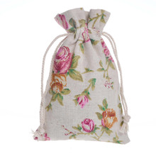 100 Pieces/Lot Drawstring Cotton Recycable Jewelry Gift Packing Pouches & Bags 10x14 cm Flower Candy Bag