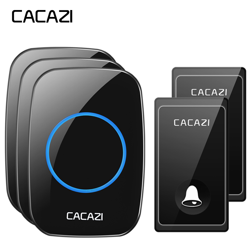 CACAZI No Battery Wireless Doorbell Self powered Smart 58 Chimes 2 Button x 3 Receiver US